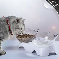 Tilted Cat Bowl w/ Stand Food Water Feeding Bowl Pet Dog Cat Feeder Elevated US