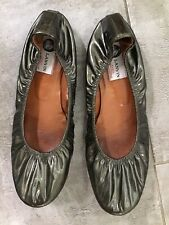 Womens Lanvin Kakhi Green Leather Flats SZ 41