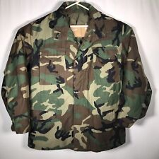 Army Woodland Camouflage Jacket Sz. Large Long Cold Weather Field Coat