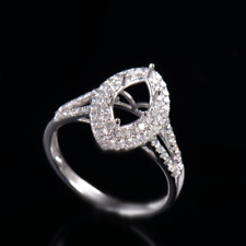 Natural Diamond Semi Mount Ring Setting Marquise Cut 5×10mm Solid 18K White Gold