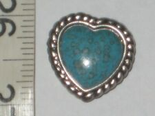 VINTAGE SET OF 6 MARBLEIZED TURQUOISE  BUTTON COVERS W/ SILVERTONE