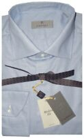 $345 NEW CANALI LIGHT BLUE & WHITE MICRO WEAVE DRESS SHIRT MADE ITALY 43 17