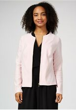 Kim & Co Deluxe Denim Knit Zip Front Jacket Blush Size S BNWOT NEW