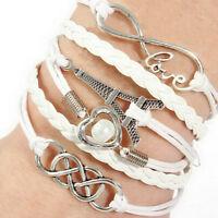 Armband Leder Wickelarmband Vintage Armkette-Lederarmband Infinity Love.Geschenk