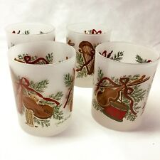 Georges Briard 4 Vtg Old Fashioned Glasses Frost Christmas Signed Harp Drum Mcm