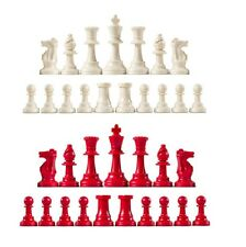 Staunton Single Weight Chess Pieces Full Set Of 34 White Red 4 Queens