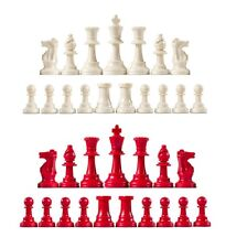 Staunton Single Weight Chess Pieces - Full Set of 34 White & Red -  4 Queens