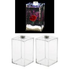 2pcs Betta Aquarium Tank Acrylic Clear Rumble Fish Tank, Small Fish Display Box