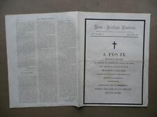 Roma Antologia Illustrata Morte Papa Pio IX Incisione Ritratto 1878 Anno I N.15