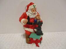 1993 RESIN  COCA COLA RESIN SANTA WITH DOG DOG HOUSE CHRISTMAS ORNAMENT