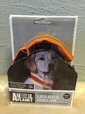new  ANIMAL PLANET DOG COLLAR adjustable LED flash & GLOW settings SMALL orange