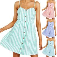 Womens BOHO Summer Beach Midi Dress Ladies Holiday Strappy Button Sundress