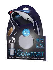 NEW Large Flexi Soft Grip New Comfort Dog Leash 26ft Tape dog leash GREY