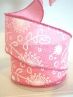 """2.5"""" Wired Ribbon Spring Floral Woven 5yds HAND ROLLED Pink"""