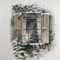 Vintage Early Mid Century Christmas Greeting Card Tree In Snowy Window Candles