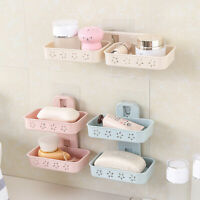 Star Wall Mounted Double Soap Dish Drain Strong Holder Tray Home Bathroom Shower