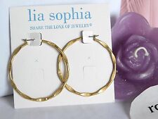 "Lia Sophia Matte Gold ""SIDE KICK"" Hoop Pierced Earrings, NWT"