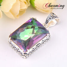 Huge Square Rainbow Fire Mystical Topaz Gems Vintage Silver Necklace Pendant NEW