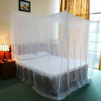 4 Corner Post Bed Canopy White Mosquito Net Full Queen King Size Netting Bedding
