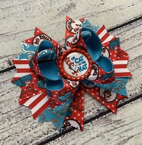 """5"""" Red /Blue Cat In The Hat Stacked Boutique Hair Bow"""