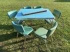 Vintage Mid Century Blue Robbin Formica Kitchen Table with 6 chairs