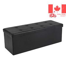 43-Inch Faux Leather Folding Storage Ottoman Bench Storage Chest Footrest Bla...