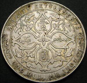 STRAITS SETTLEMENTS 1 Dollar 1907 - Silver - VF - 1220 ¤