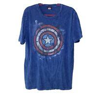Captain America Distressed Shield Logo Marvel Comics Licensed Adult T-shirt XL