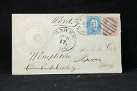 Ma: Barre 1860s #63, #65 Meacham Revolving Button Forwarded Advertising Cover