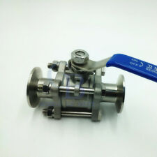 """3/4"""" Stainless Steel 304 Tri Clamp Three Piece Sanitary Ball Valve Water Oil"""