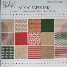 Simply Creative 6x6 Paper Pad Deck the Halls Card Making Scrapbooking Planner