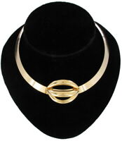 """Gold Tone Statement Torque Choker Bangle Necklace Vintage 13"""" + 5/8"""" Opening"""