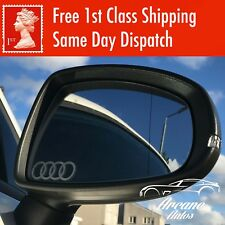 AUDI ETCHED GLASS EFFECT MIRROR DECALS X3 STICKERS LOGO CUSTOM SIDE RINGS SILVER