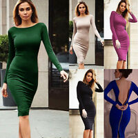 Women Bandage Bodycon Dress Summer Evening Cocktail Party Long Sleeve Midi Dress
