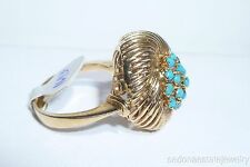 14/18K Solid Yellow Gold Turquoise Ring Flower Button Large Ring 1970s Vintage