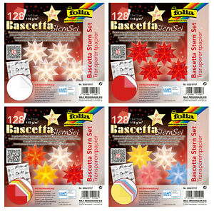 4er Bascetta Stern Set, 128 Blatt, 7,5 x 7,5 cm, folia®,Transparentpapier