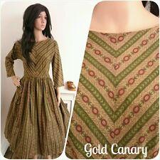 Vintage 50s Green Red Floral Stripe Cotton Full Skirt Dress 1950s 60s 10 38