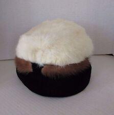 Vintage 1960s Winter White and Brown Mink Fur and Velvet Pillbox Hat
