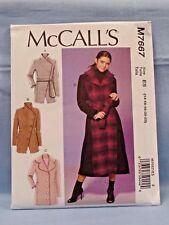 MCCALLS PATTERN 7667 COATS  MISSES SIZES  14 16 18 20 22  UNCUT