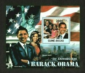 Guinea-Bissau 2011 - Barack Obama 50th Birthday, Family - Souvenir Sheet - MNH
