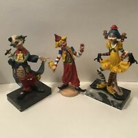 Vintage Fontanini Depose Clowns Lot Of 3 Carrara Marble Made In Italy