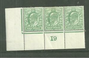 KEVII 1902 DLR 1/2d  strip of 3 with control number  ( I9) .  Mint
