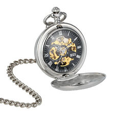 Chain Elegant Silver Retro Gift Mechanical Pocket Watch Rome Design Skeleton