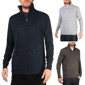 Mens Soft Wool Knit Half Zip Funnel Neck Jumper Sweater Top Grandad Pullover Top