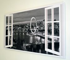 BLACK AND WHITE  LONDON WINDOW CANVAS WALL ART  PICTURE   18 X 32 INCH FRAMED