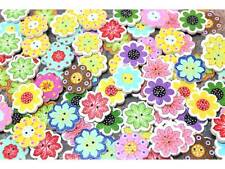 20 Stück Kinderknöpfe Knöpfe Holz Blume Scrapbooking 20x19mm #8271