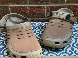 Crocs Men's Yukon Vista Clog Beige Tan Leather Slip on Shoes Size 15