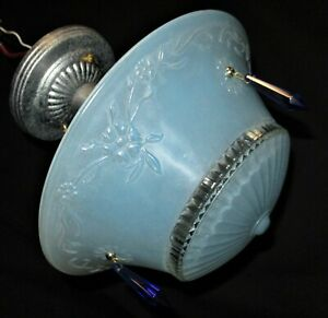 VTG 3 CHAIN FLOWER BLUE GLASS SHADE CEILING LIGHT CHANDELIER FIXTURE CRYSTALS