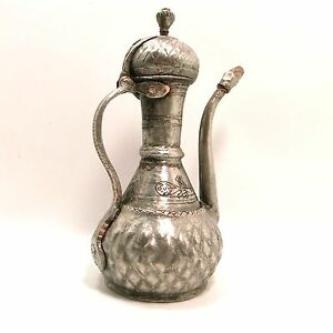 Ottomman Turkish antique copper ewer dated 1252 H and signed with owner's name