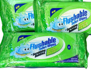 Scrubbing Bubbles Flushable Cleaning Wipes NEW Old Stock Discontinued Biodegrade